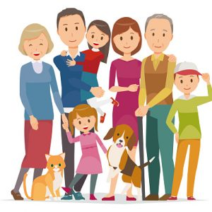 Illustration of family - 7 people of 3generation and pet in winter